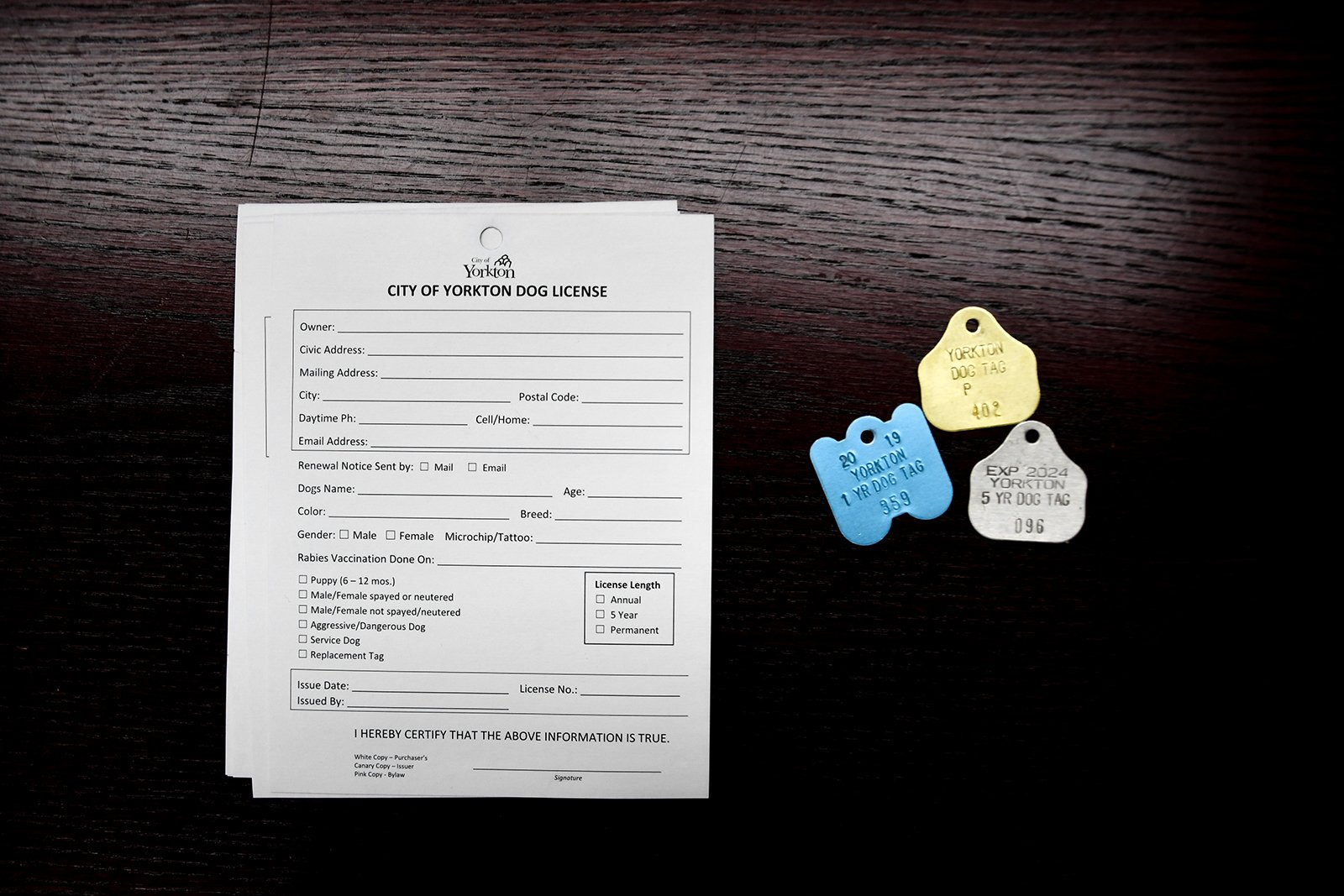Dog tags and permit form
