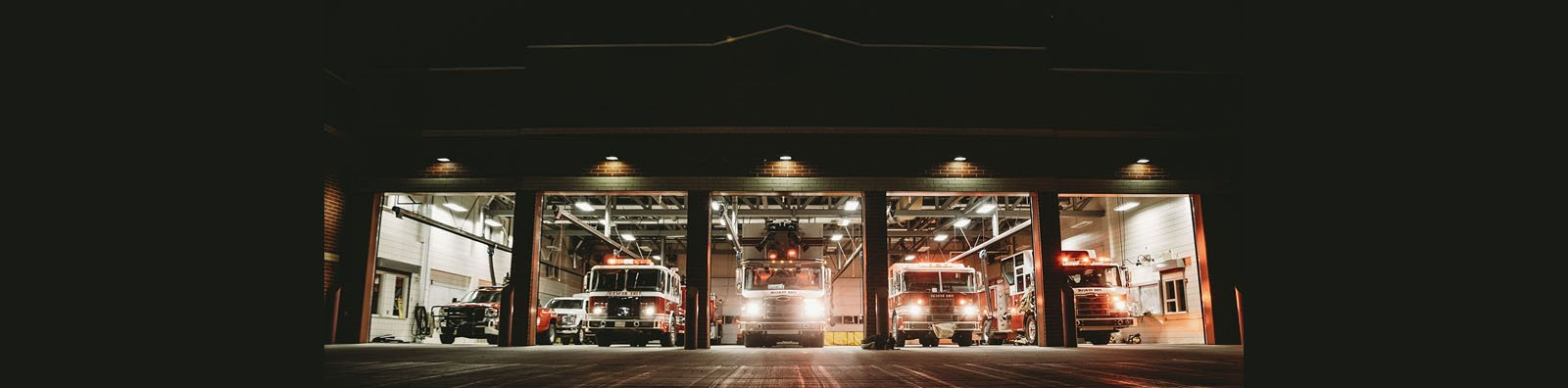 Fire trucks lined up at fire hall